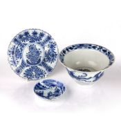Group of blue and white porcelain Chinese, Kangxi and later to include a Kangxi mark and period fish