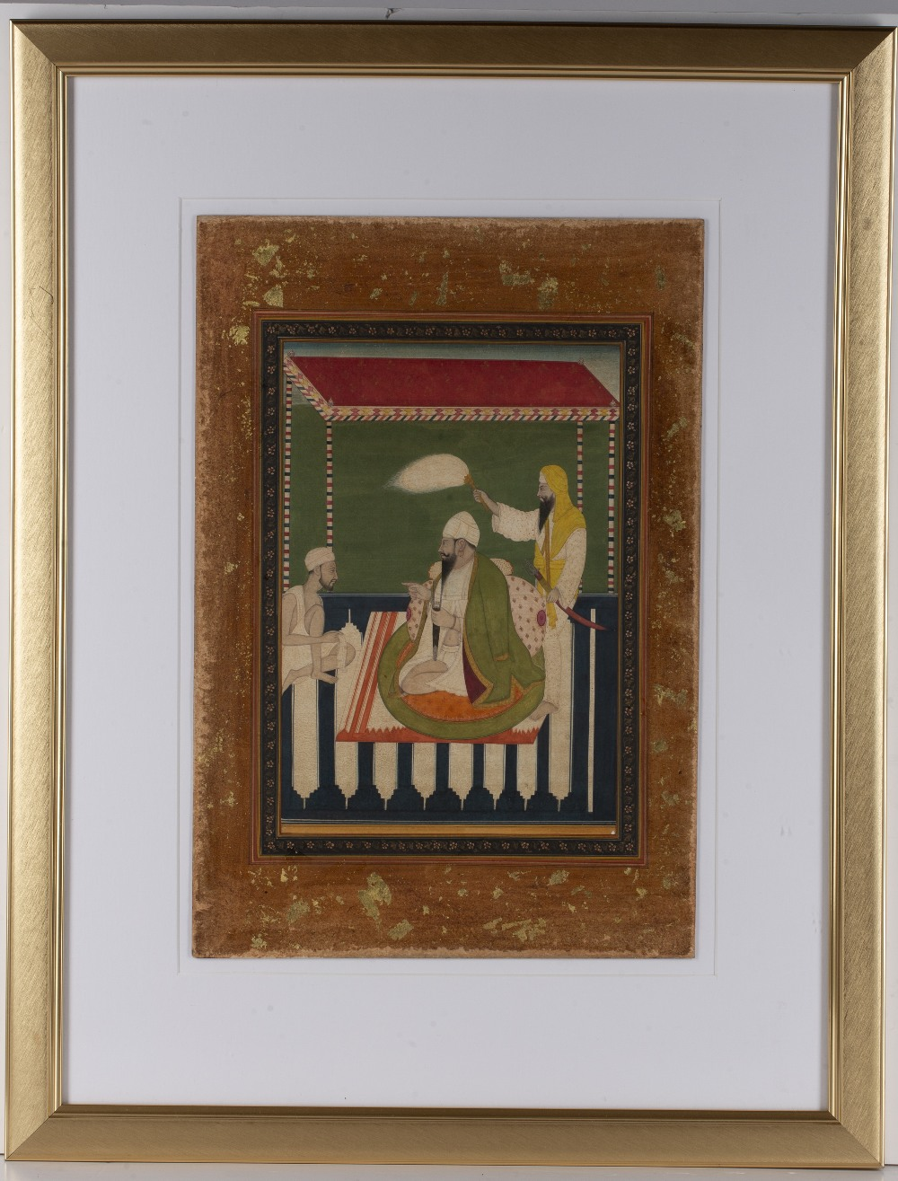Seated figure miniature Indian, Sikh school depicting two attendants with a seated figure, with a - Image 2 of 3