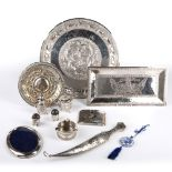 Group of white metal and other pieces Aden, Thailand and others including a dagger, tray etc