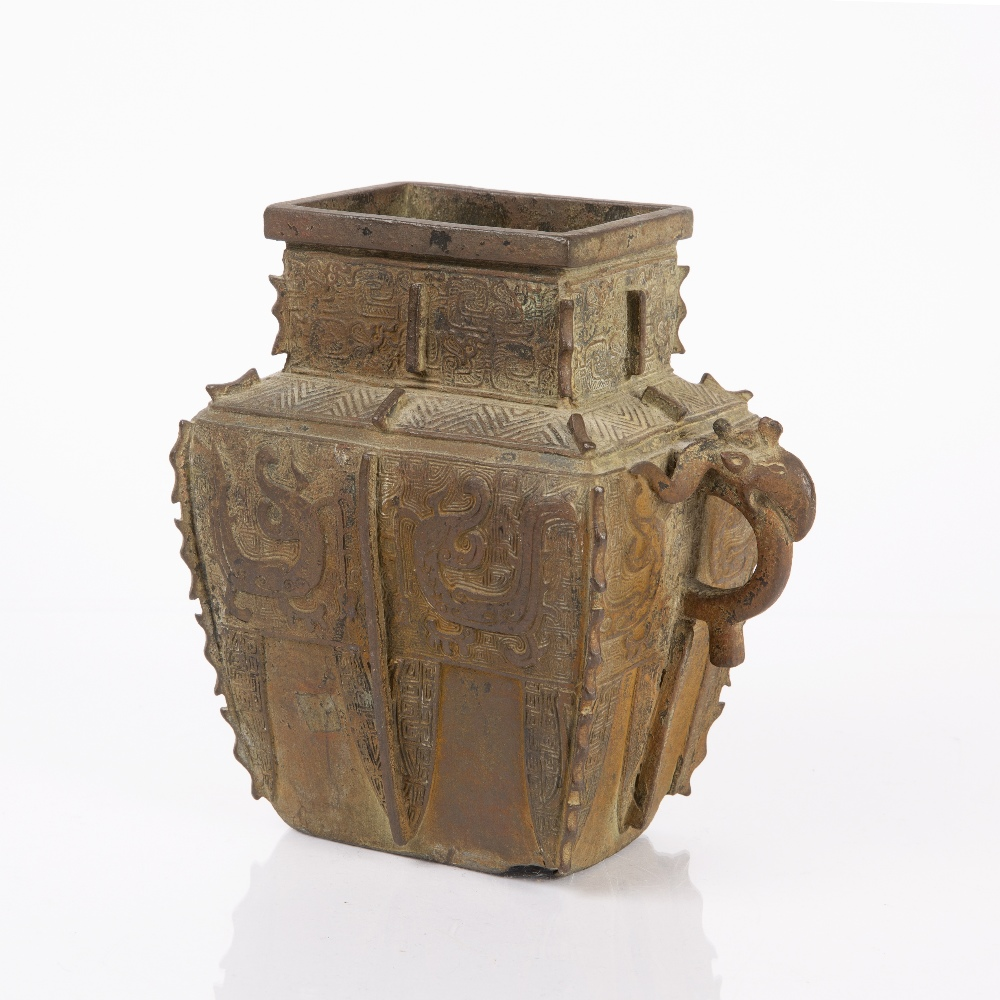 Bronze Shang style wine vessel Chinese, 17th/18th Century with archaic dragon and tao-tie designs,