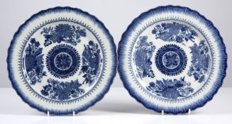 Pair of export porcelain plates Chinese 19th Century decorated in the Fitzhugh pattern, with a
