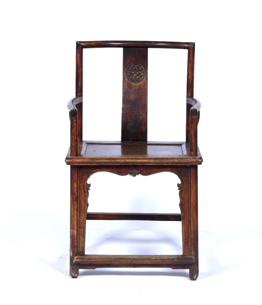 Ming style throne chair Chinese, 19th Century with roundel carved to the back, 95.5cm high, 57cm - Image 2 of 5