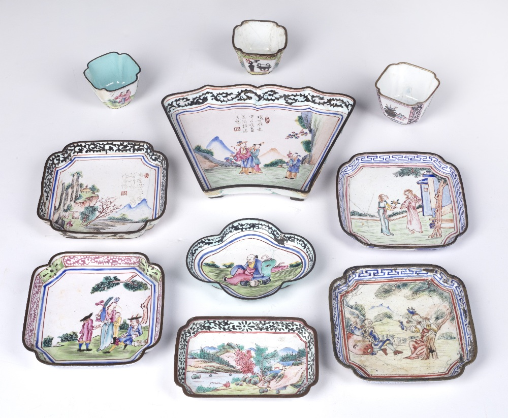 Collection of enamel pieces Chinese, 18th Century including small dishes and wine cups (10)