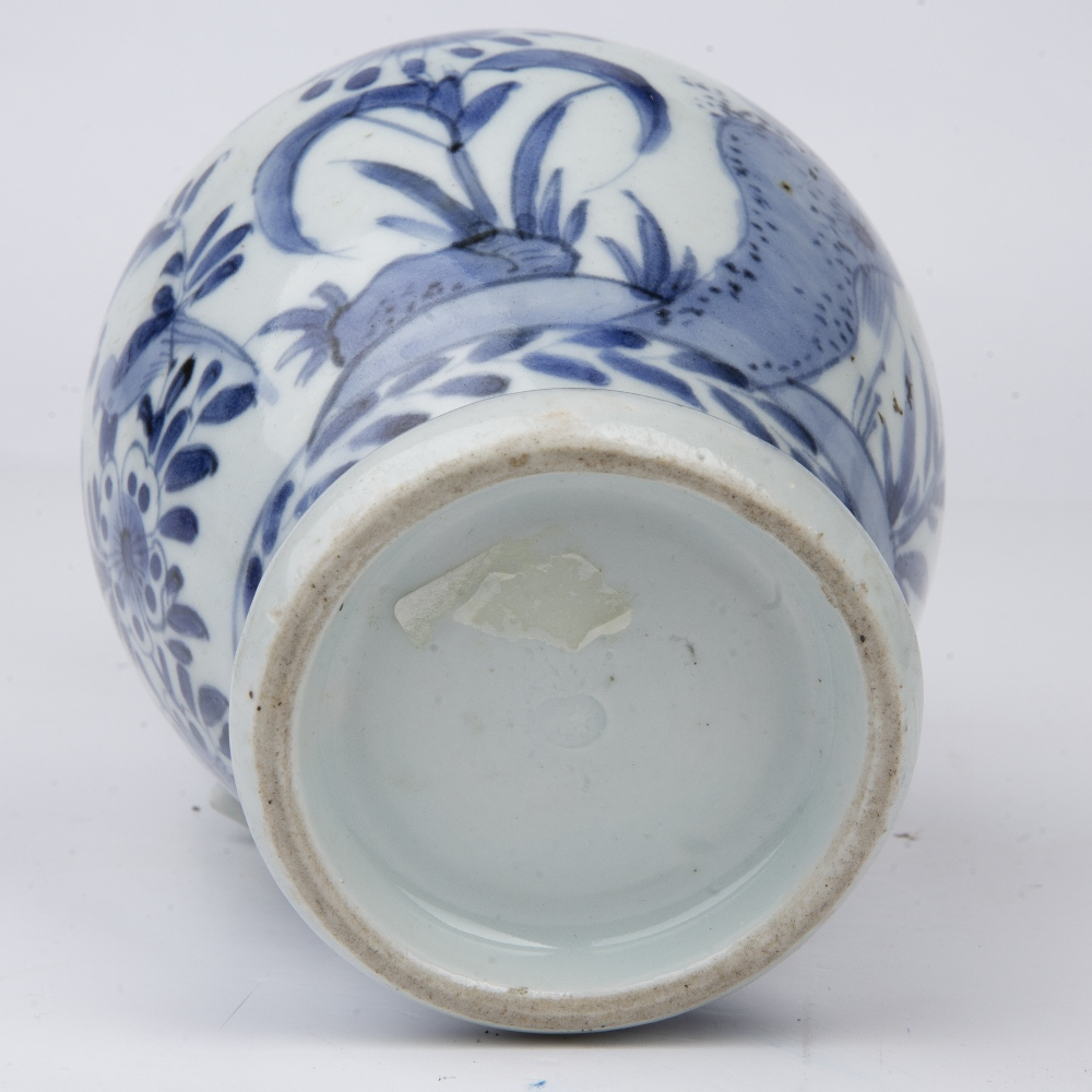 Blue and white ewer Japanese, 18th Century decorated with birds and butterflies perched on - Image 5 of 5