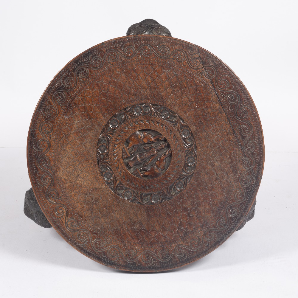 Carved hardwood circular table Indian, circa 1920/30 on carved elephant supports with ivory tusks, - Image 3 of 3