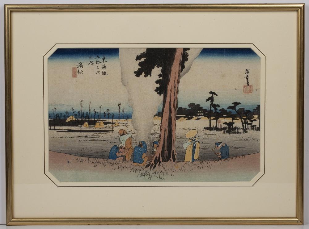 Ando Hiroshige (1797-1858) '53 stations of the Tokaido Road, No 30, Hamamatsu: Winter scene' - Image 2 of 3