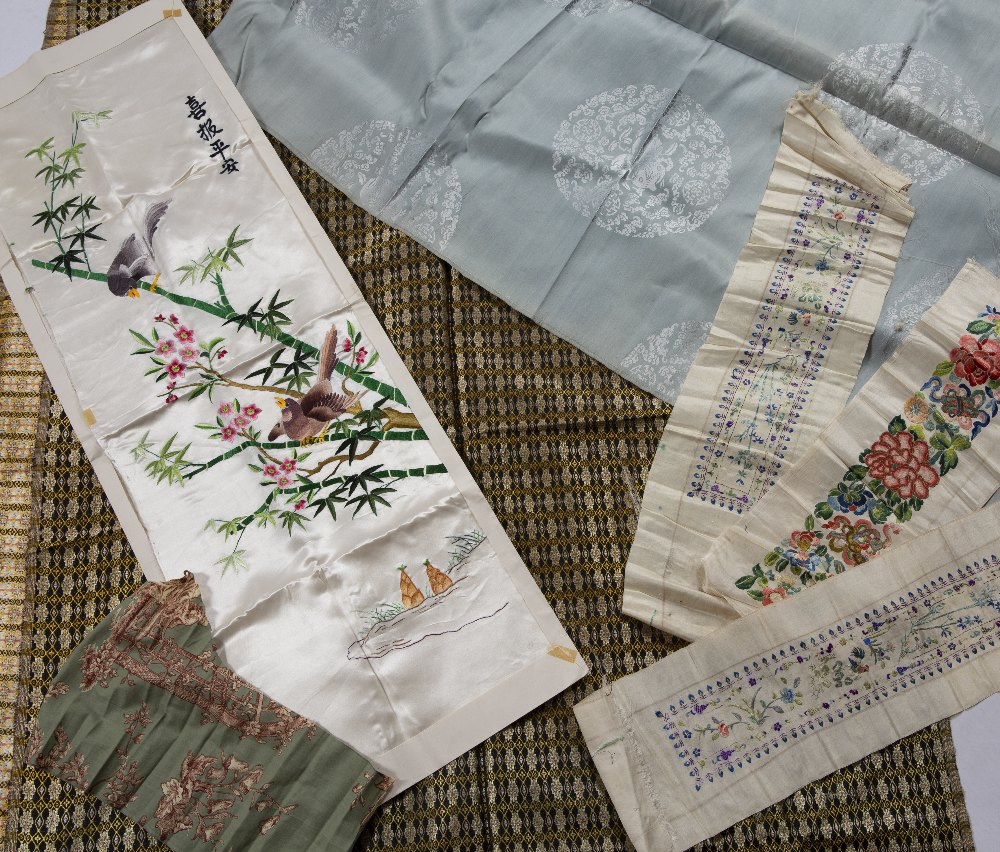 Collection of material Chinese comprising of one silk embroidery of birds, three further silk