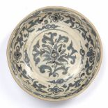 Qingbai style blue and white charger South East Asia, 16th/17th Century decorated to the centre with
