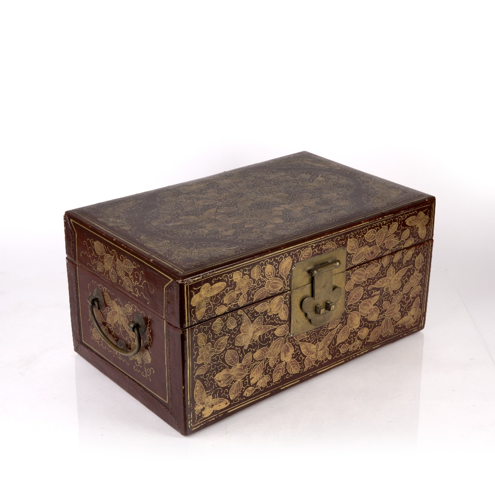 Export red lacquer box Chinese, 19th/20th Century densely decorated in gilt lacquer with butterflies