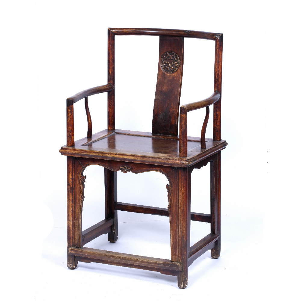 Ming style throne chair Chinese, 19th Century with roundel carved to the back, 95.5cm high, 57cm - Image 3 of 5