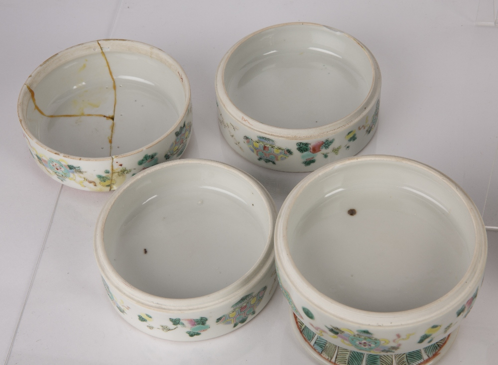 Group of ceramics Chinese including a famille verte calligraphy teapot, 20cm high, a famille verte - Image 8 of 9