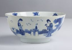 Blue and white bowl Chinese, 19th Century decorated to the exterior depicting courting figures in