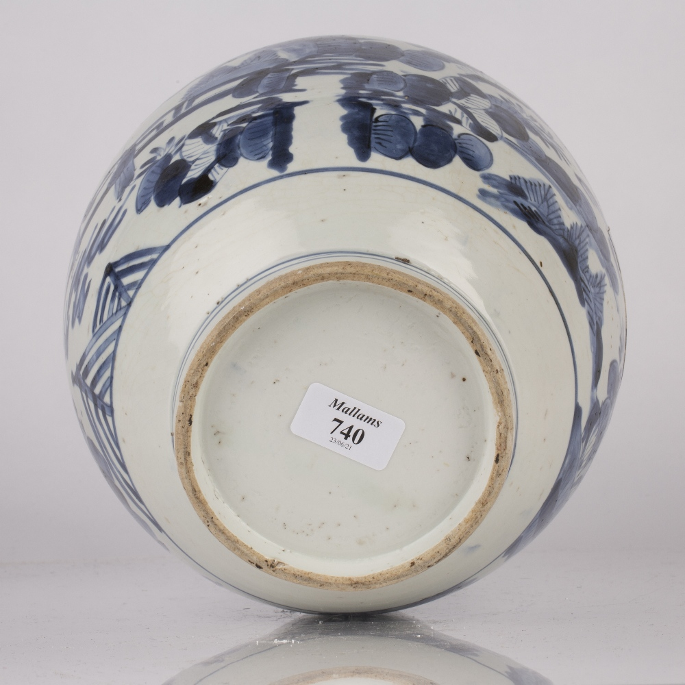 Arita blue and white jar Japanese, Edo period circa 1655-1670s decorated to the body with figures - Image 4 of 4