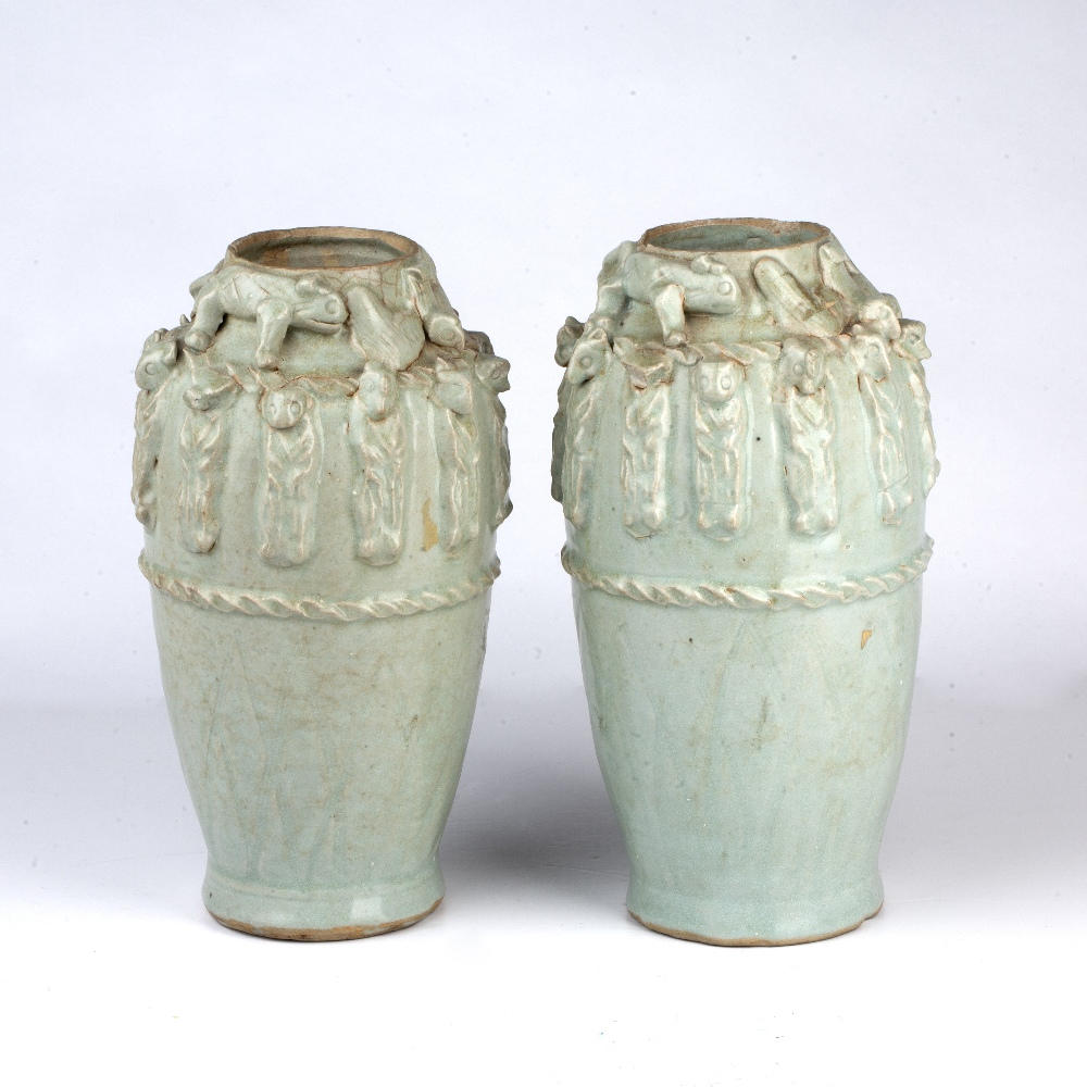 Pair of Yueyao-style funerary vases Chinese, Song dynasty with moulded decoration to the neck - Image 2 of 4