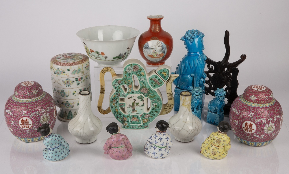Group of ceramics Chinese including a famille verte calligraphy teapot, 20cm high, a famille verte - Image 2 of 9