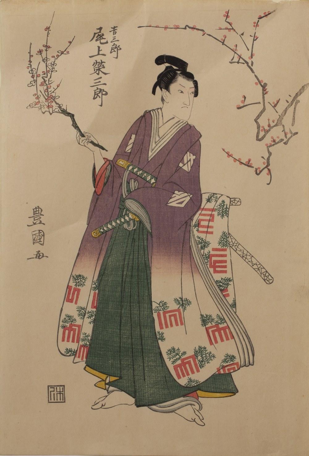 Utagawa Toyokuni I (1769-1825) 'Actor Onoe, Eizaburo I in robe' Japanese woodblock, stamped lower