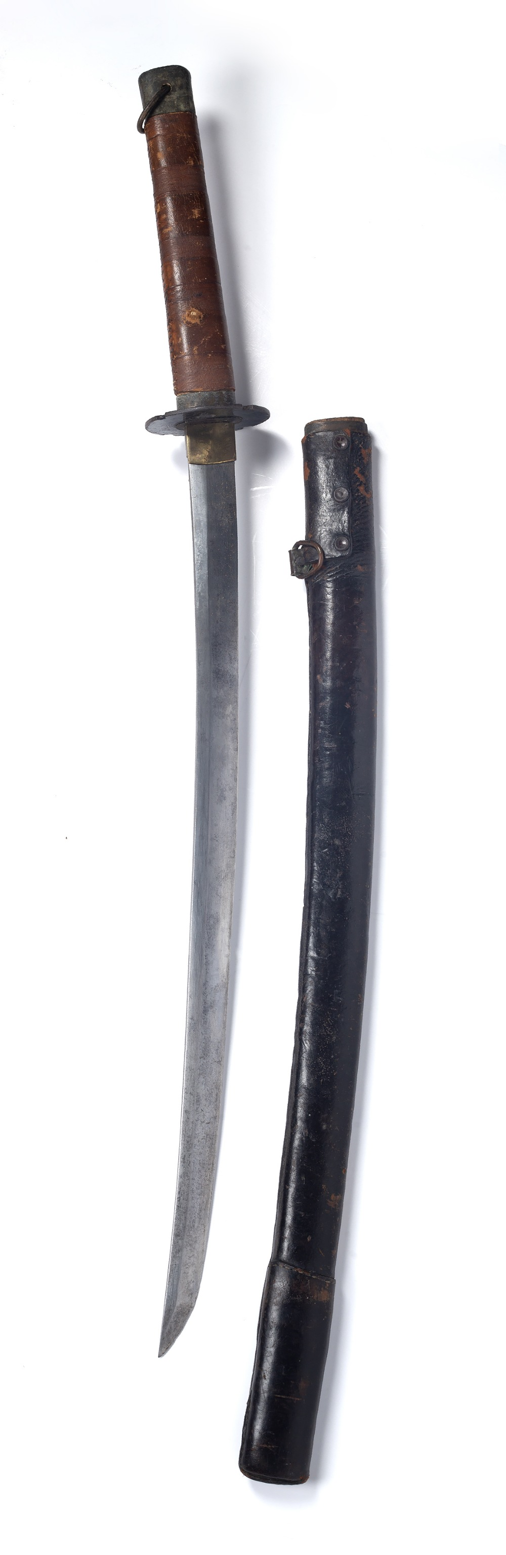 Katana sword Japanese, late WWII period with a plain tsuba and leather scabbard 98cm across