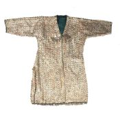 Coat with stamped metal medallions Turkoman with two diamond shaped amulets and pendants and with