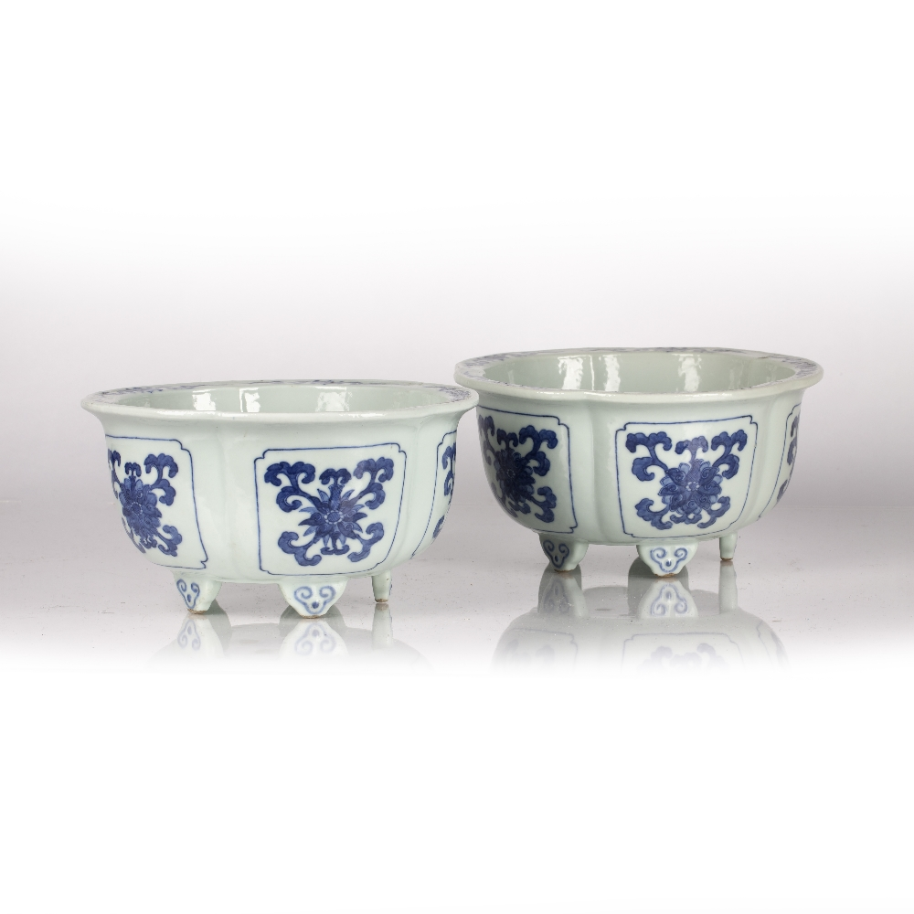Fine pair of blue and white five lobed jardinieres Chinese, Yongzheng mark and period each lobe - Image 3 of 9