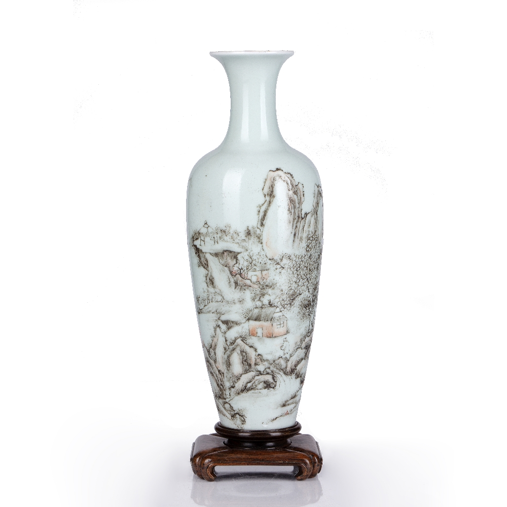 Famille rose and grisaille 'Landscape vase' Chinese, Republic period the slender body decorated with