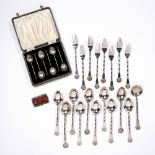 Collection of export silver cutlery Chinese comprising of eleven spoons and eight forks together