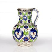 Cantagalli Iznik pattern jug Italian, 19th Century decorated to the exterior with brightly