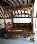 Jiazichuang style canopy bed Chinese with polychrome and gilt painted decoration with decorative