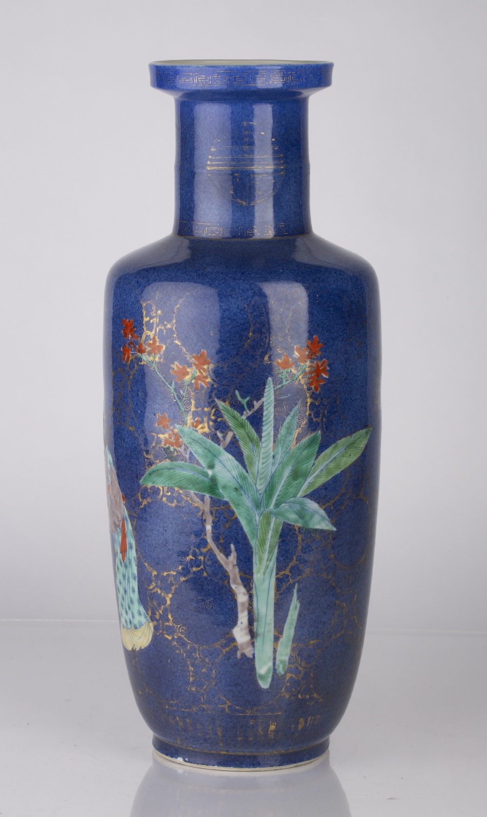 Powder-blue ground rouleau vase Chinese, Kangxi period (1662-1722) decorated in colourful enamels - Image 4 of 6