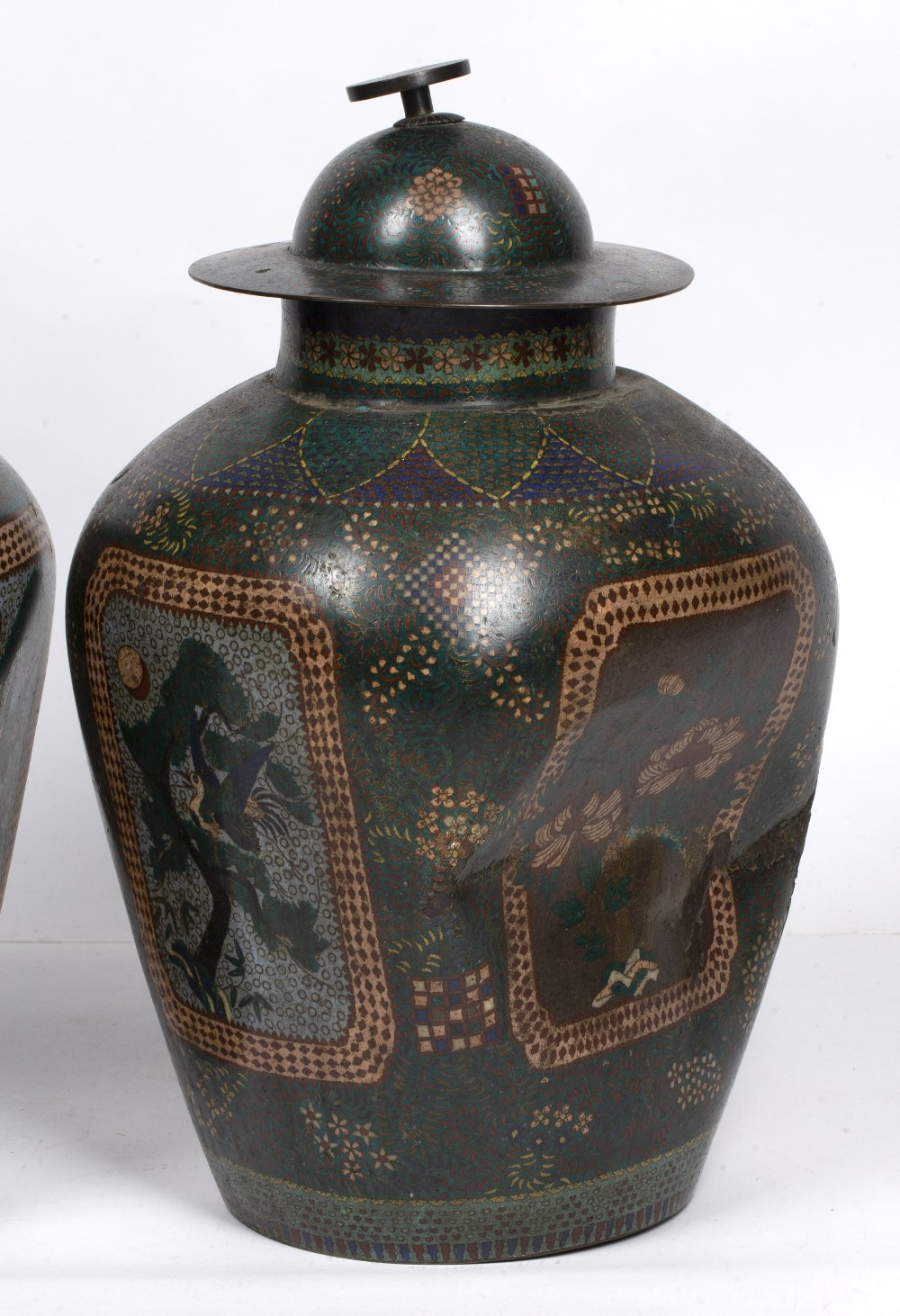 Pair of green square section cloisonne vases Japanese each with foliate designs, 48cm high - Image 3 of 4