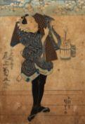 Utagawa Kunisada (1786-1865) 'Actor with bucket' Japanese woodblock, 35cm x 24.5cm Condition: with