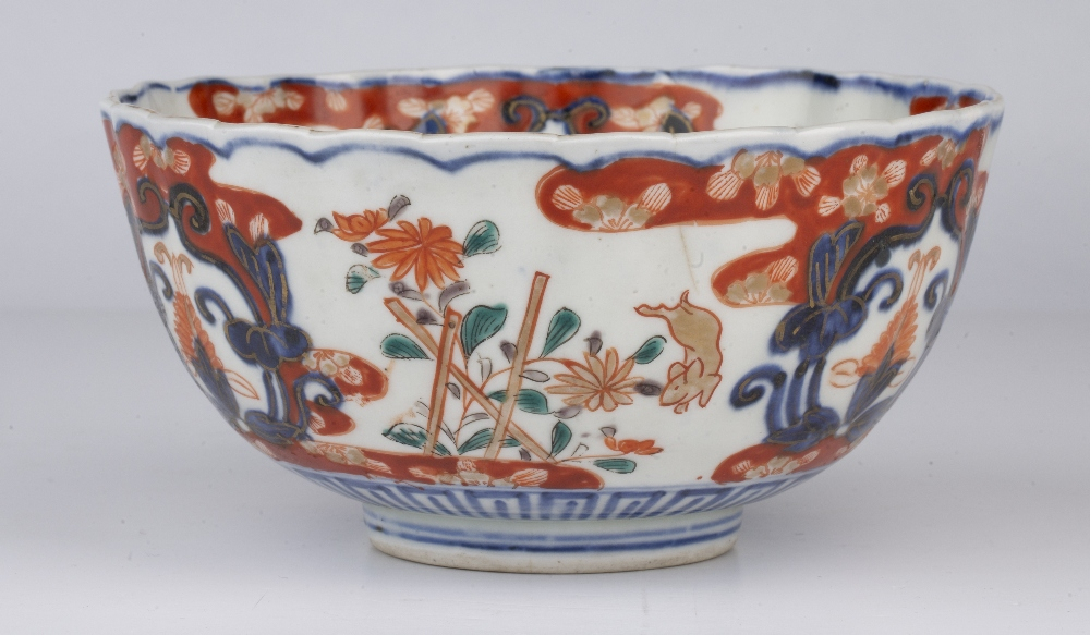 Imari bowl Japanese, 19th Century decorated with leaping rabbits beside stacked flowers divided by - Image 3 of 5