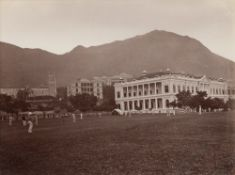 The Cricket Ground circa 1890s vintage albumen print, depicting cricketers playing at the Murray