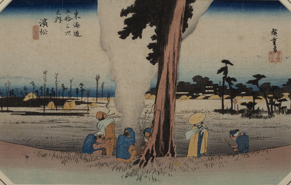 Ando Hiroshige (1797-1858) '53 stations of the Tokaido Road, No 30, Hamamatsu: Winter scene'