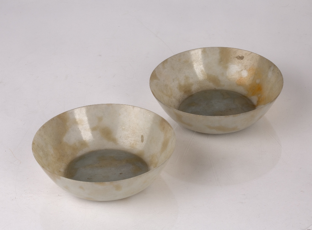 Grey and brown mottled eggshell jade bowls Chinese, 19th Century of translucent colour, 13cm x 3.5cm - Image 2 of 3