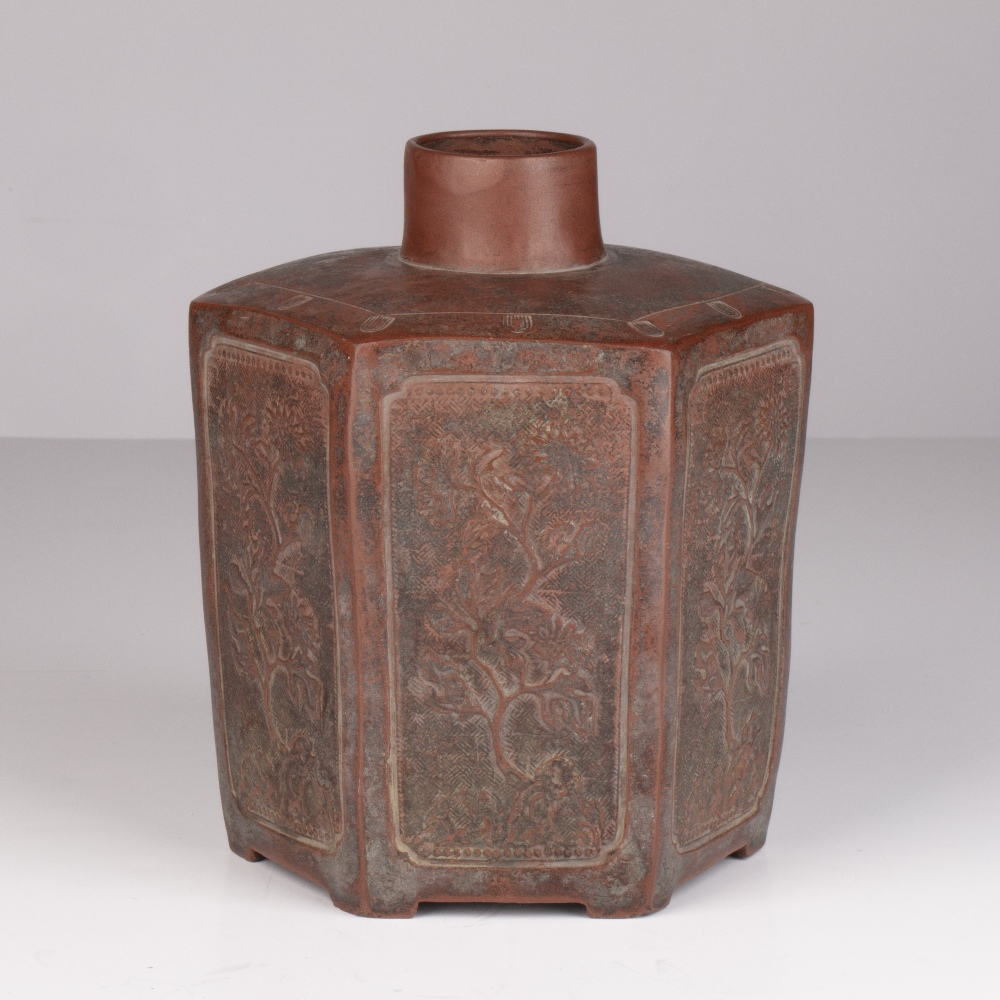Yixing tea caddy Chinese of hexagon form, with each side modelled in relief with flowering tree - Image 2 of 4