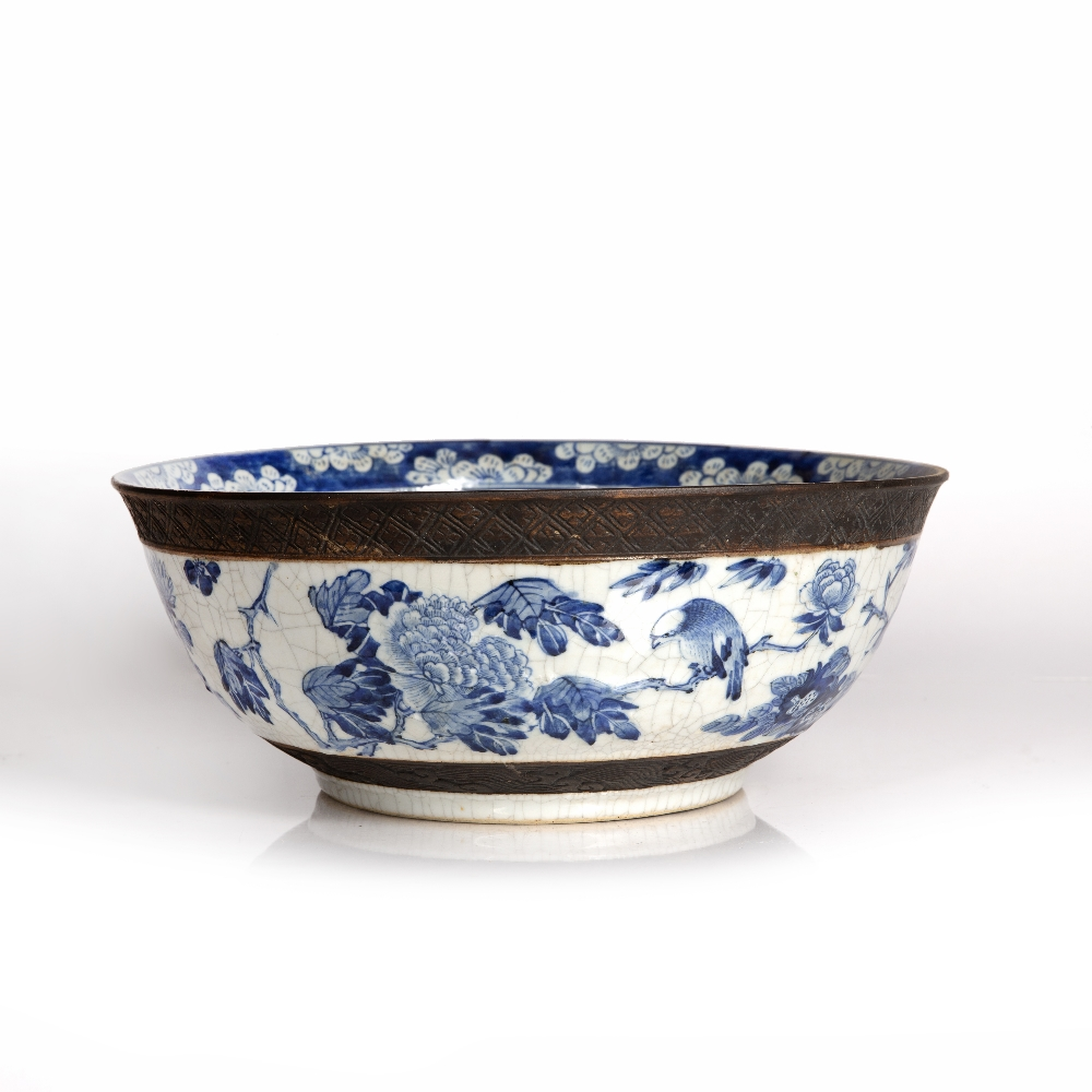 Crackleware blue and white punch bowl Chinese, 19th Century decorated to the exterior with flowering