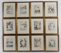 Set of twelve erotic prints Chinese each set in different landscapes, framed and glazed, 17cm x 12cm