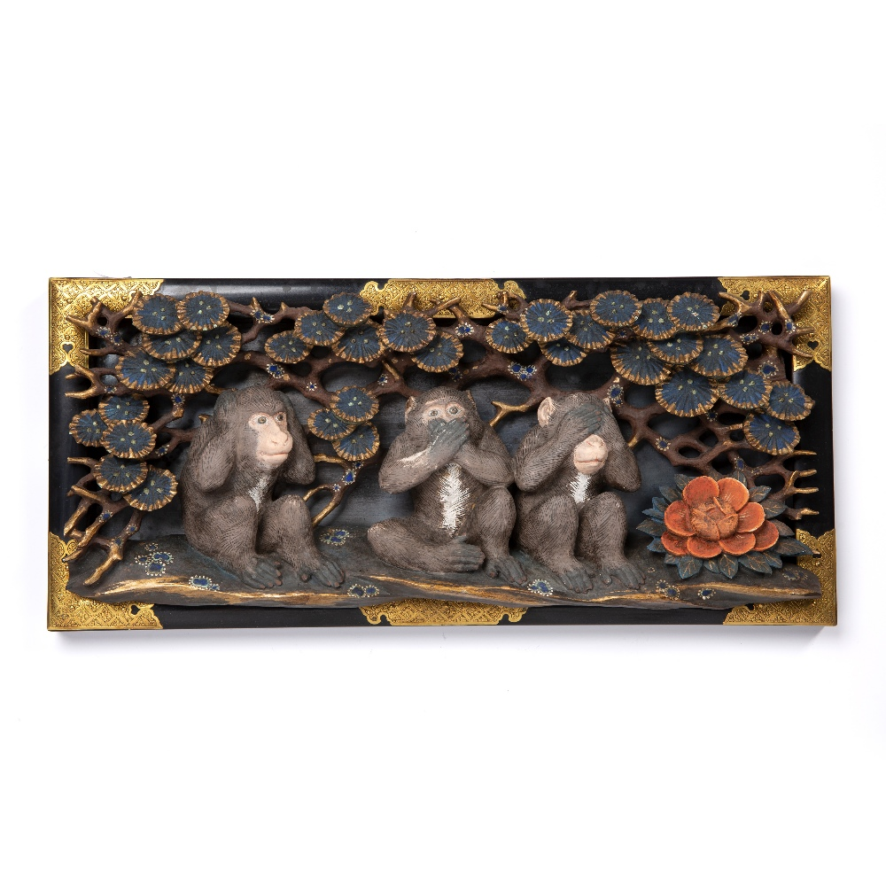 Carved and painted 'three monkeys' Japanese on a lacquer and gilt metal stand, 45cm x 20cm