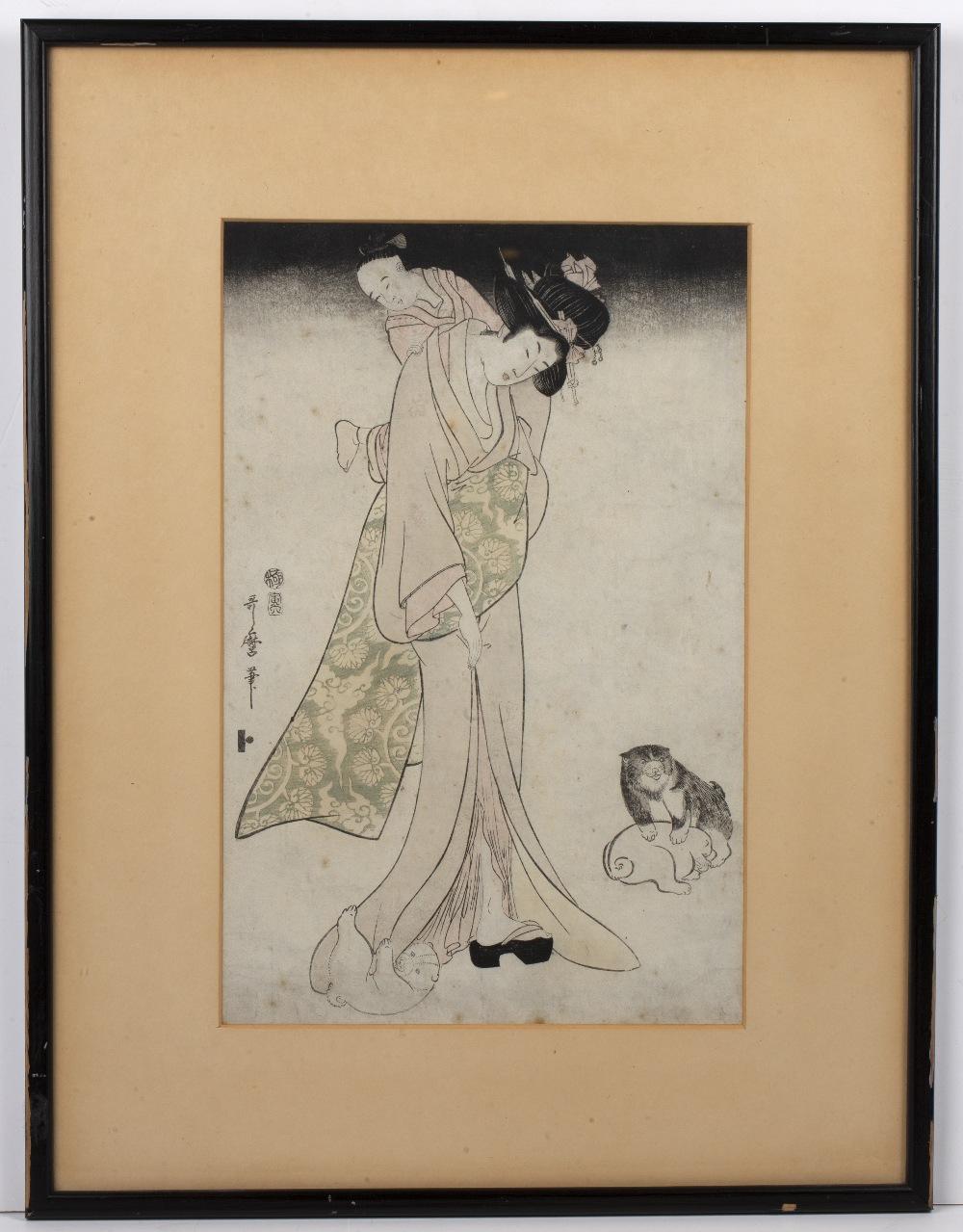 Kitagawa Utamaro II (1789-1830) 'Mother and child' Japanese woodblock, 37cm x 24cm Condition: foxing - Image 2 of 3