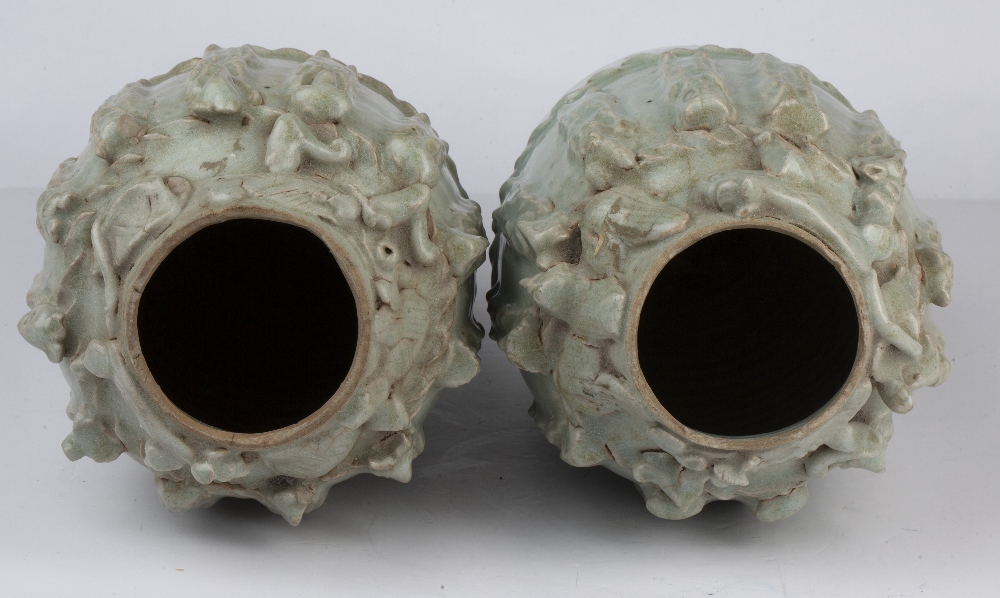 Pair of Yueyao-style funerary vases Chinese, Song dynasty with moulded decoration to the neck - Image 3 of 4