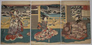 Utagawa Kunisada (1786-1864) 'Edomurasaki Azumano Utsushie' Japanese woodblock triptych, unframed