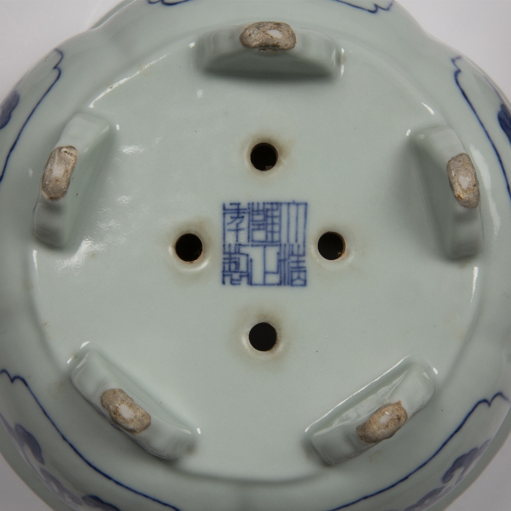 Fine pair of blue and white five lobed jardinieres Chinese, Yongzheng mark and period each lobe - Image 9 of 9