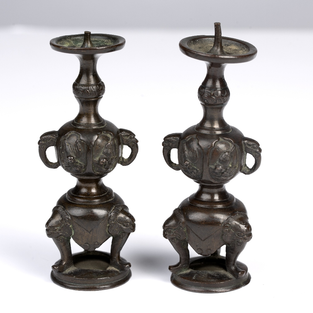 Pair of bronze miniature pricket candle sticks Japanese, Meiji period formed as a slender double - Image 2 of 3