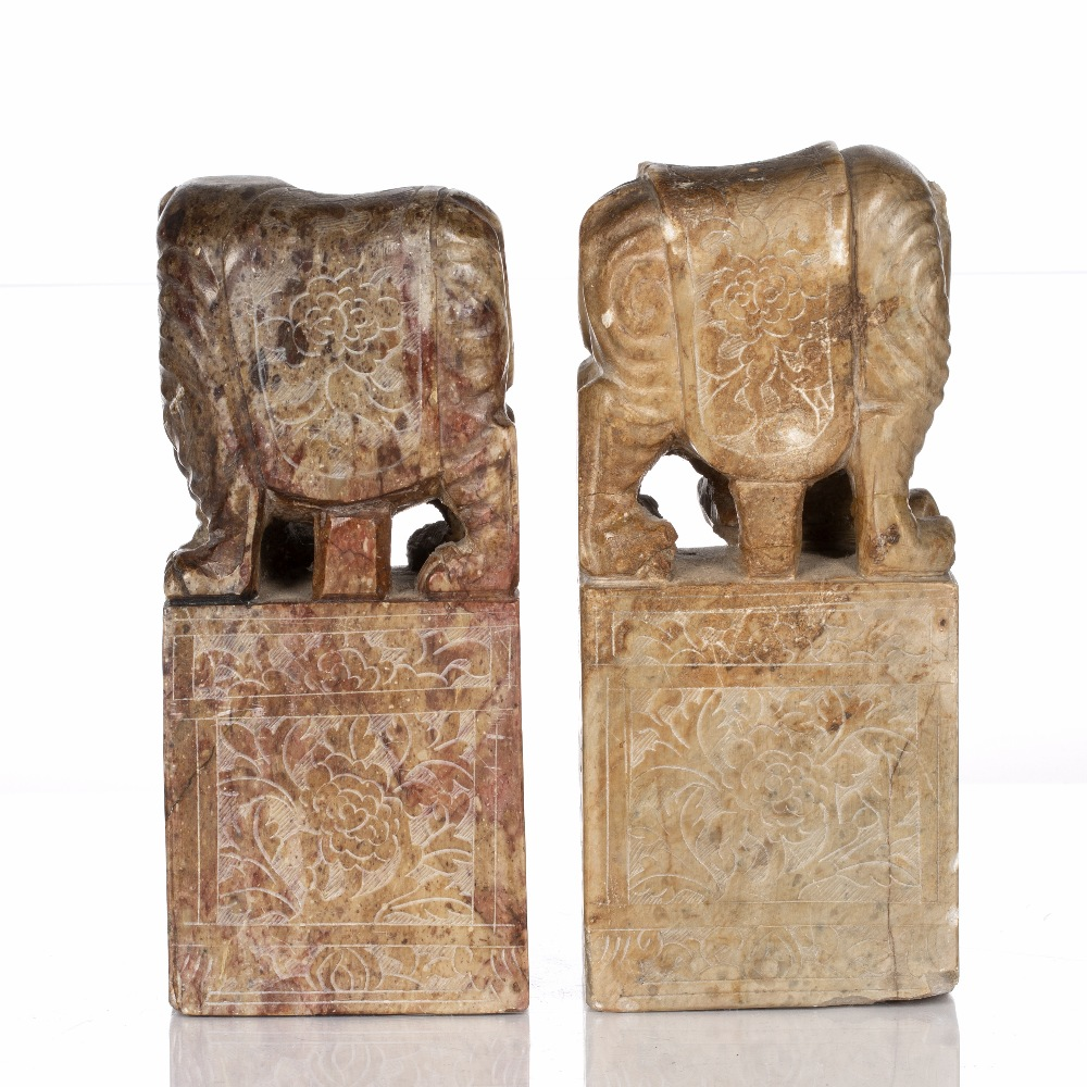 Pair of soapstone seals Chinese, 19th Century each with elephant mounts and having engraved sides, - Image 3 of 5