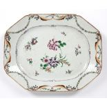 Famille rose charger Chinese, 18th Century painted with sprays of flowers and with swag border, 41.