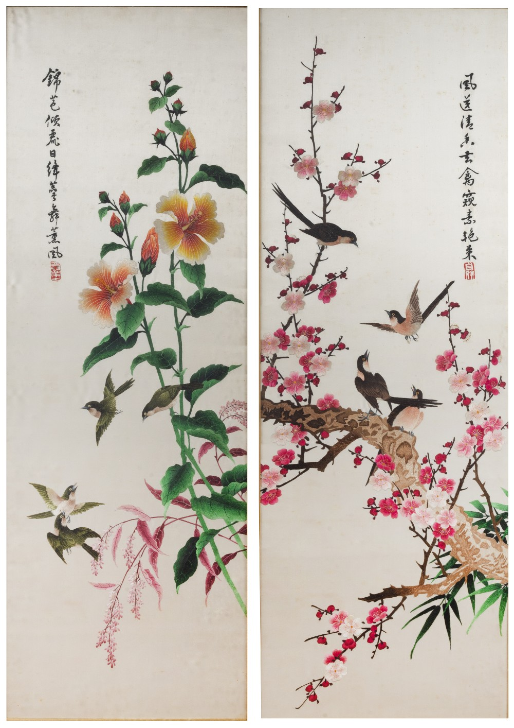 Set of four paintings on silk Chinese, 20th Century depicting birds on a flowering branch, with a