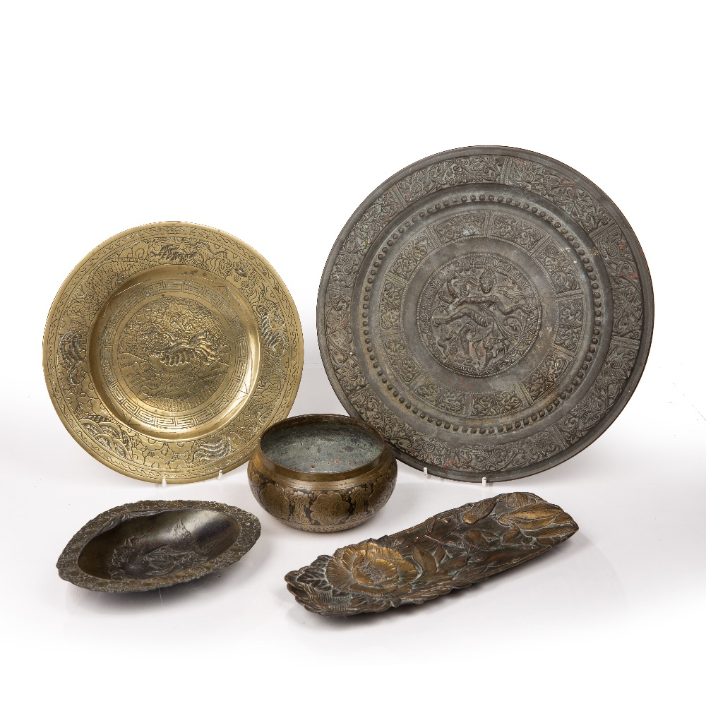 Group of metal pieces Chinese, Japanese and Indian including a Shiva metal dish 31cm, a bronze