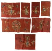 Seven various silk and embroidered fragments/panels Chinese largest 39cm x 54cm