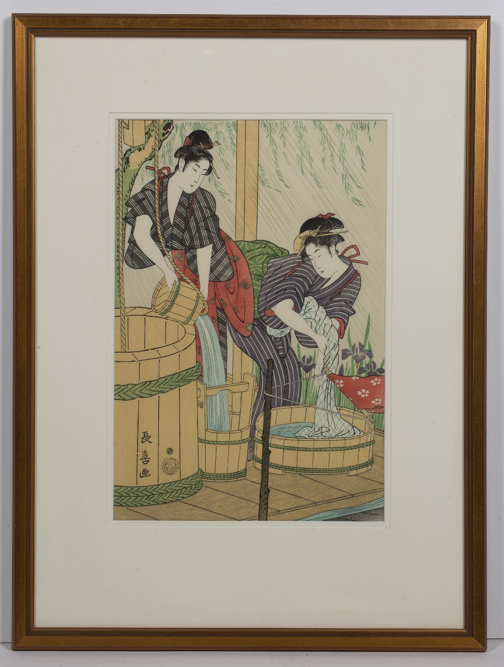 20th Century Japanese 'Two washer women' woodblock print, marked with seals lower left, 36cm x 24. - Image 2 of 3