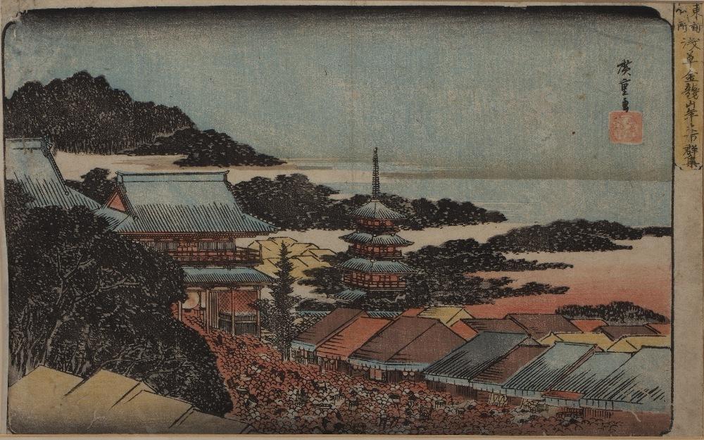 Ando Hiroshige (1797-1858) 'Crowd at the Year-end Fair at Kinryûzan Temple in Asakusa Japanese